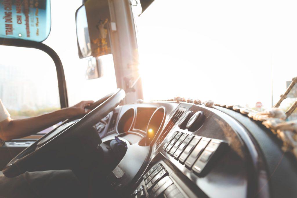 interior of cab of truck